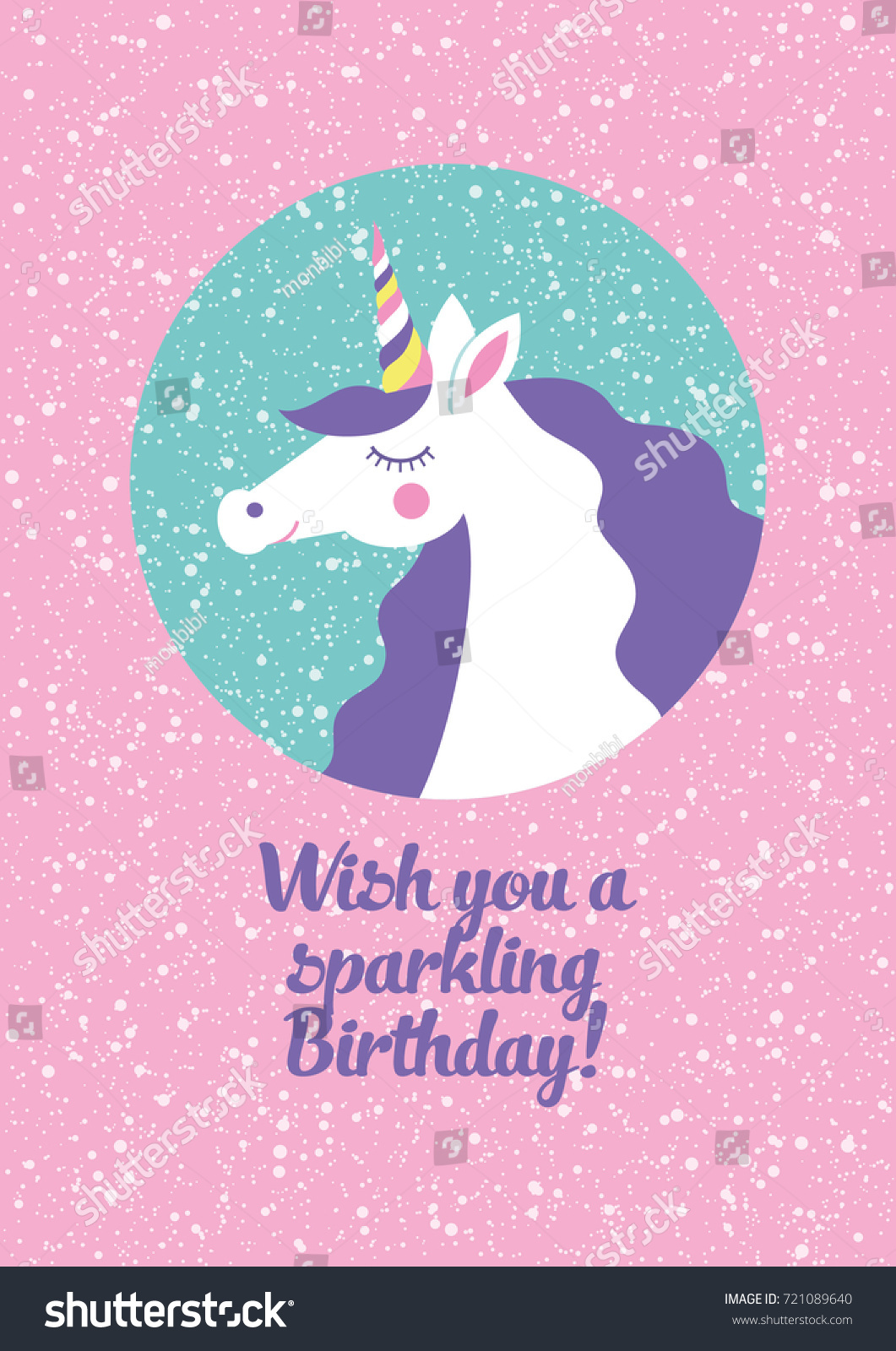 Magical Unicorn Cute Birthday Card Design Vector Illustration