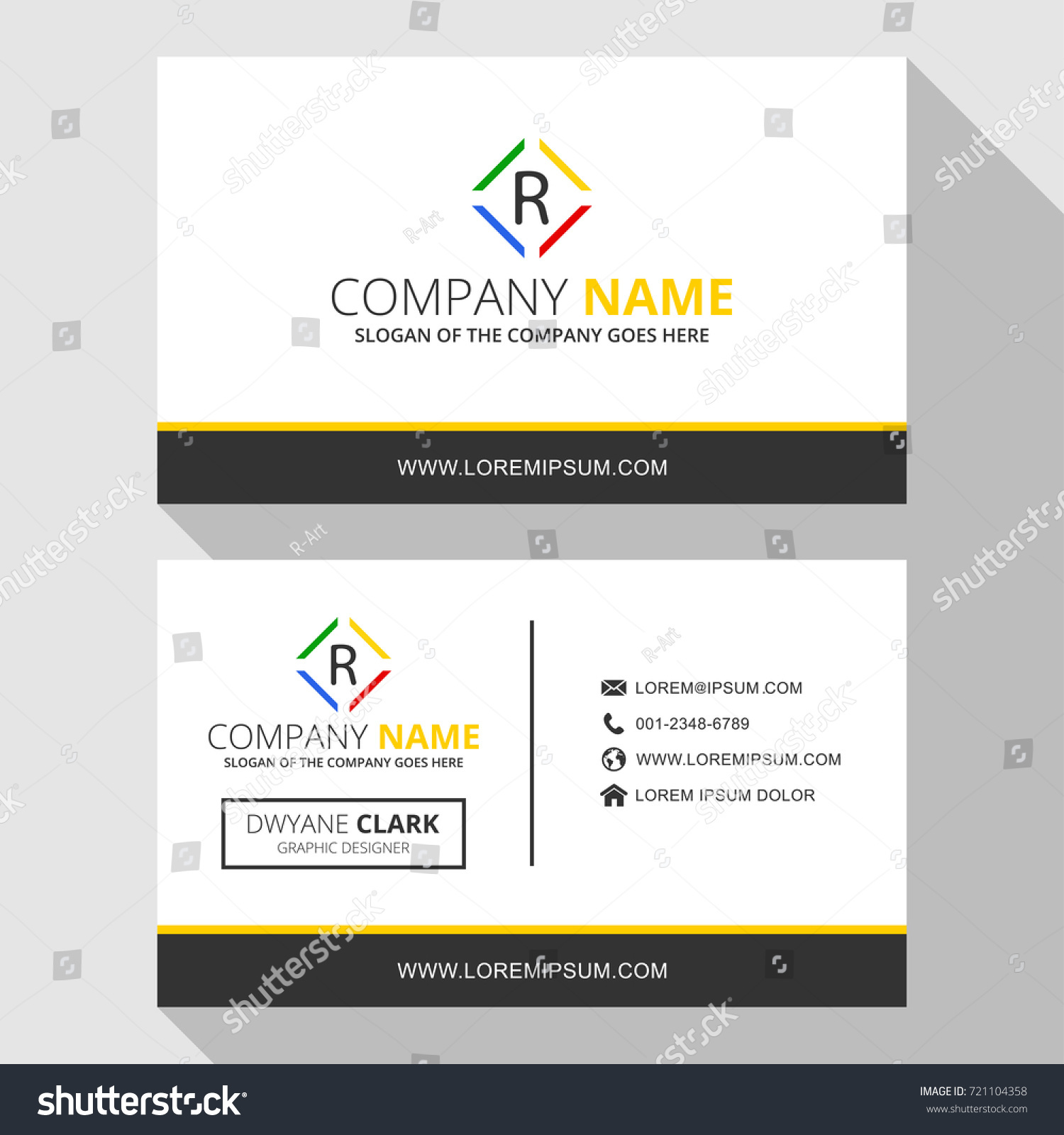 r simple business card logo icon stock vector r simple business card with logo