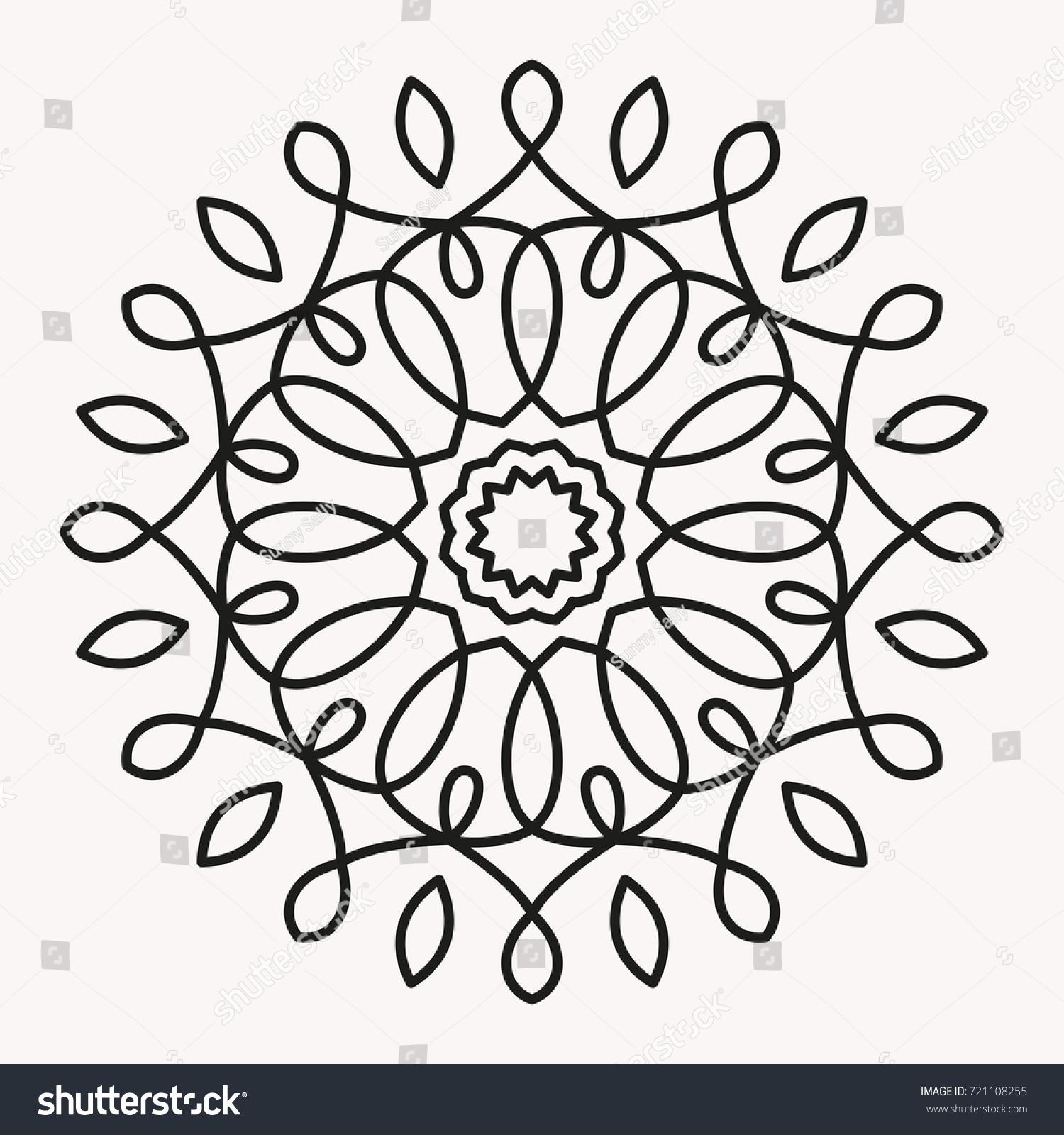 Simple Mandala Shape for Coloring. Vector Mandala. Floral. Flower ...