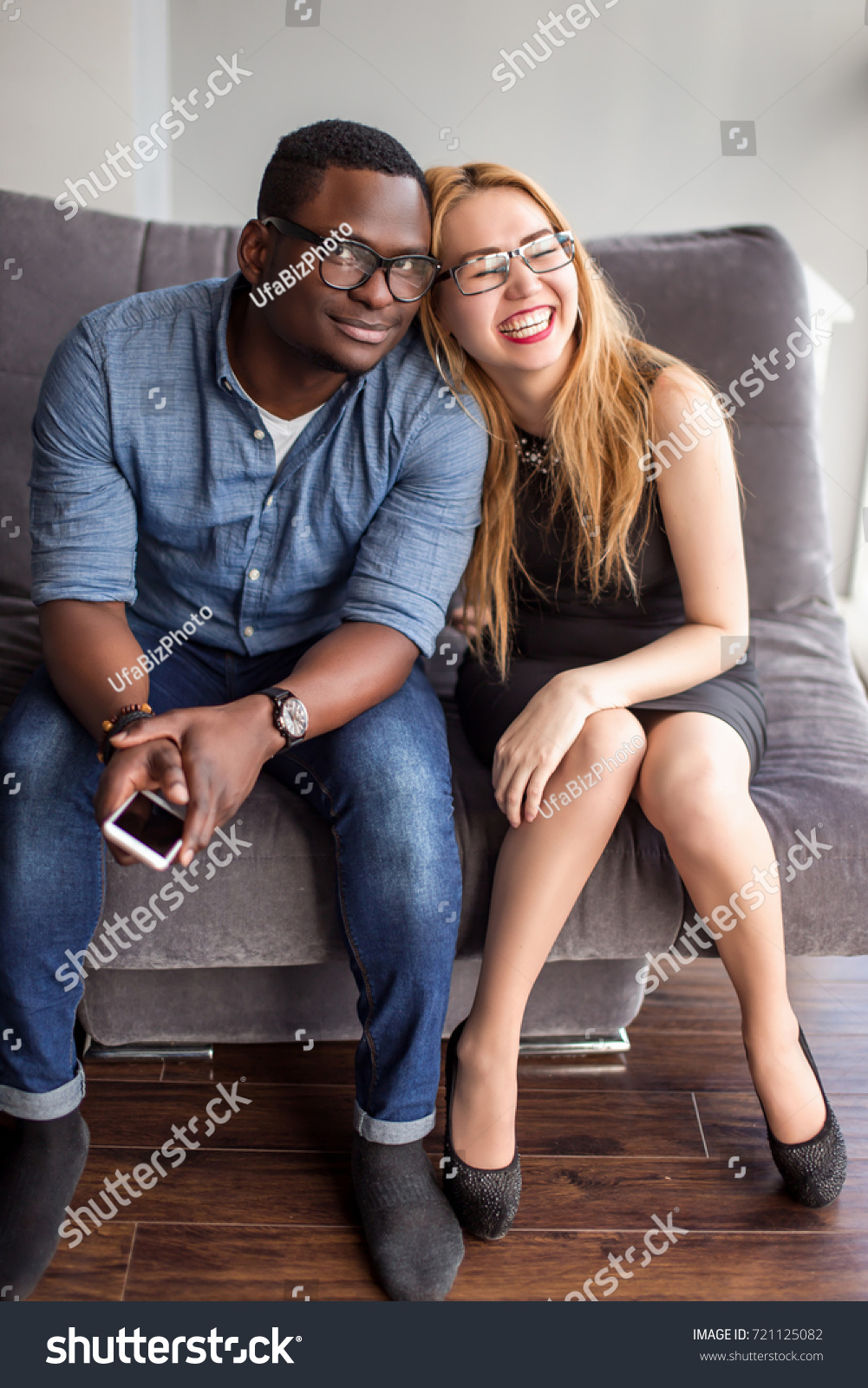 interracial couple on date view through stock photo & image (royalty