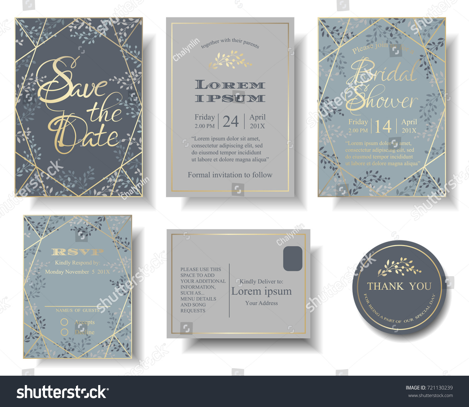 Set wedding invitation card blue gray em vetor stock 721130239 set of wedding invitation card blue and gray color tone many leaves round of stopboris Gallery