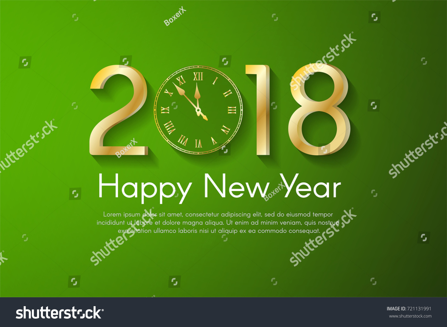 golden new year 2018 on green background vector greeting card illustration with golden numbers and