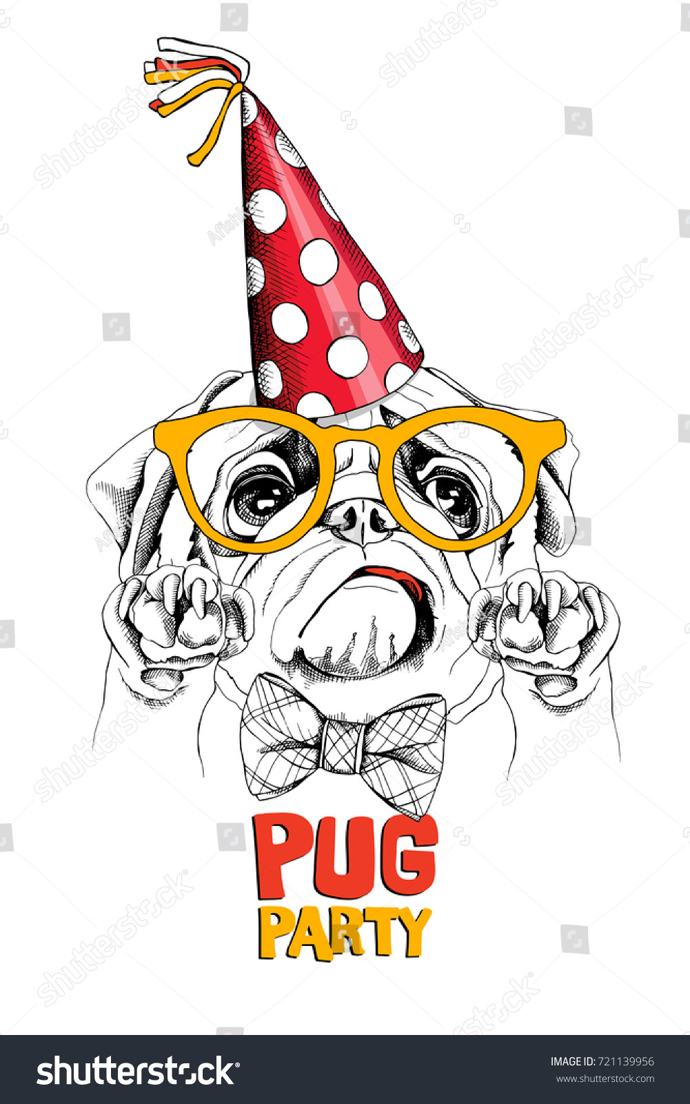 funny pug red polka dot party stock vector 721139956 shutterstock