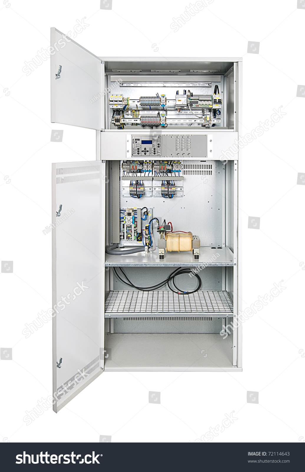 Circuit Breaker Cabinet Electrical Enclosure With Its Door Open Could Be Electrical