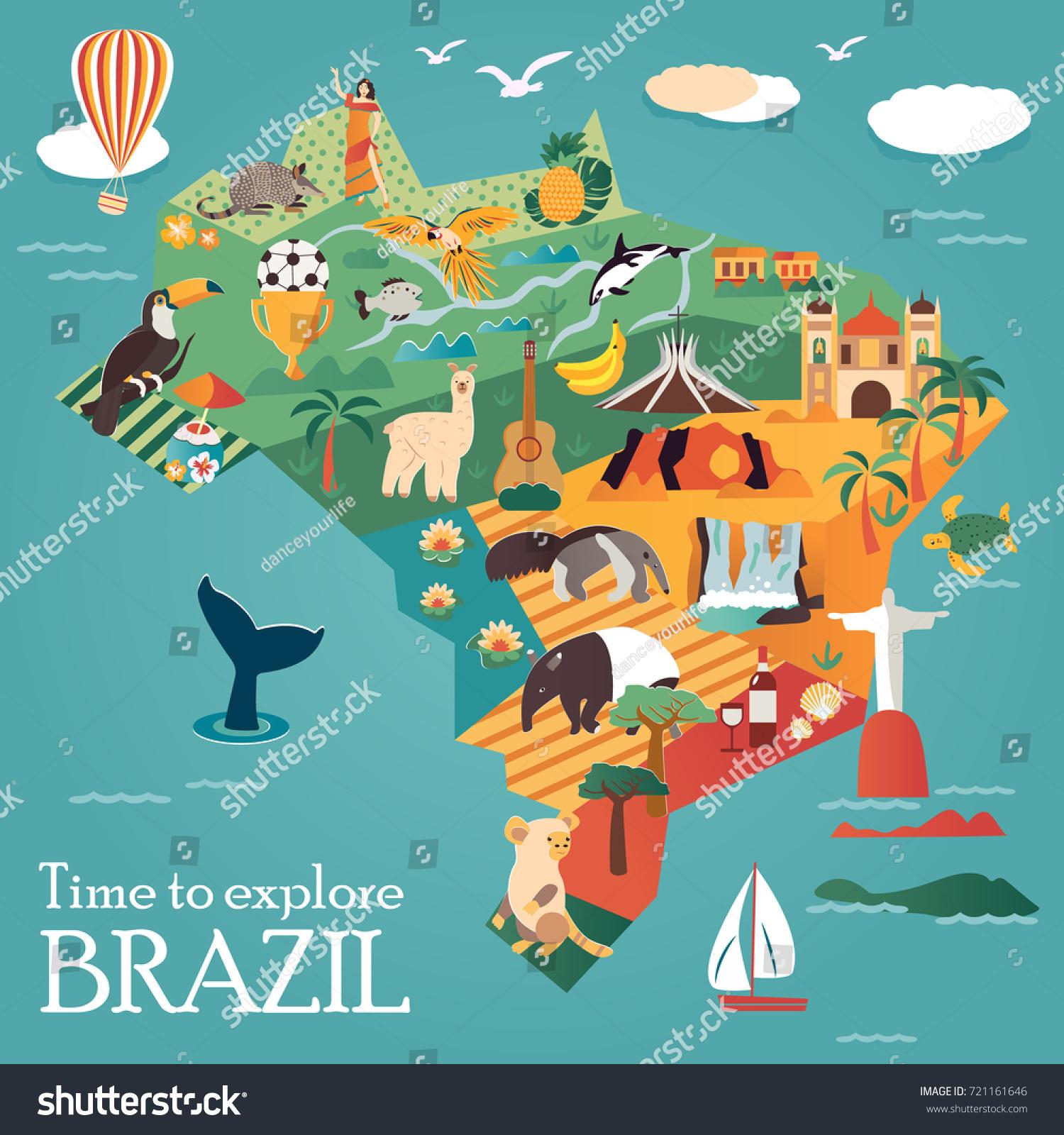 Tourist Map Brazil Landmarks Animals Can Stock Vector (Royalty Free ...