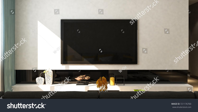 Modern Living Room Sofa Tv On Stock Illustration 721176700