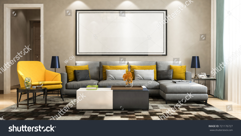 Modern Living Room Sofa Set Picture Stock Illustration 721176727