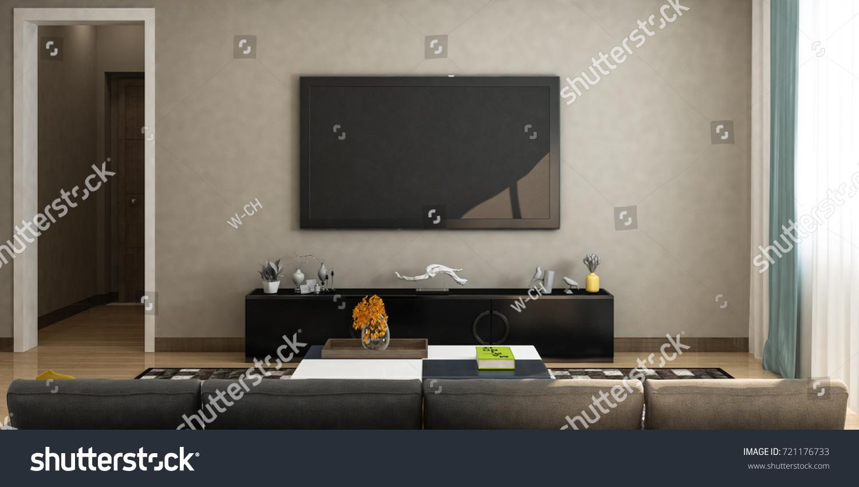Modern living room sofa tv on stock illustration 721176733 for Living room elevation