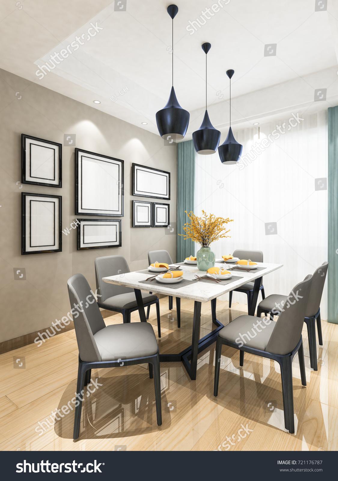 Modern Living Room Perspective Dining Set Stock Illustration