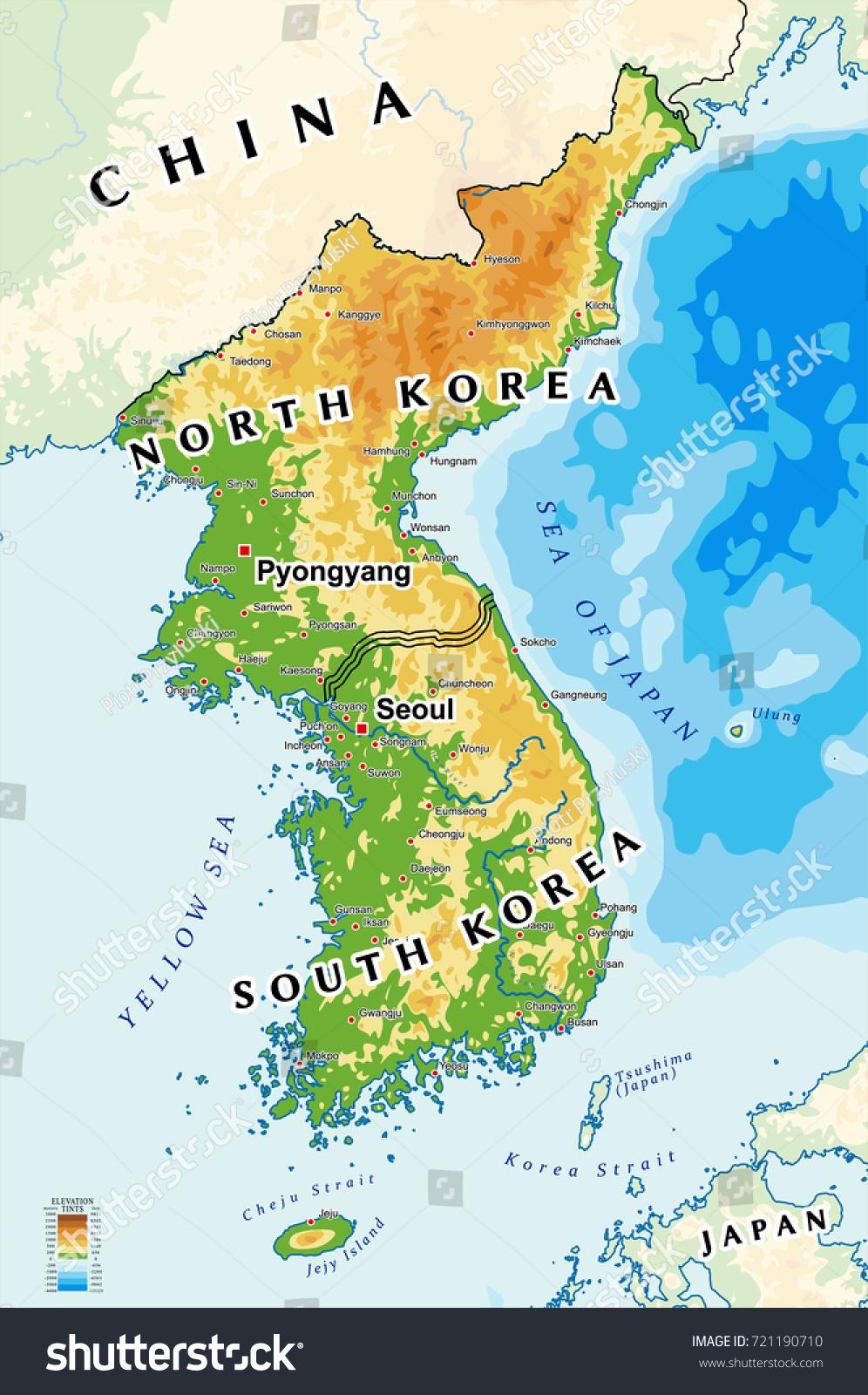 North korea south korea physical map vector de stock721190710 north korea and south korea physical map gumiabroncs Choice Image