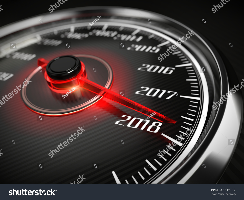 2018 year car speedometer concept 3 d stock illustration 721190782