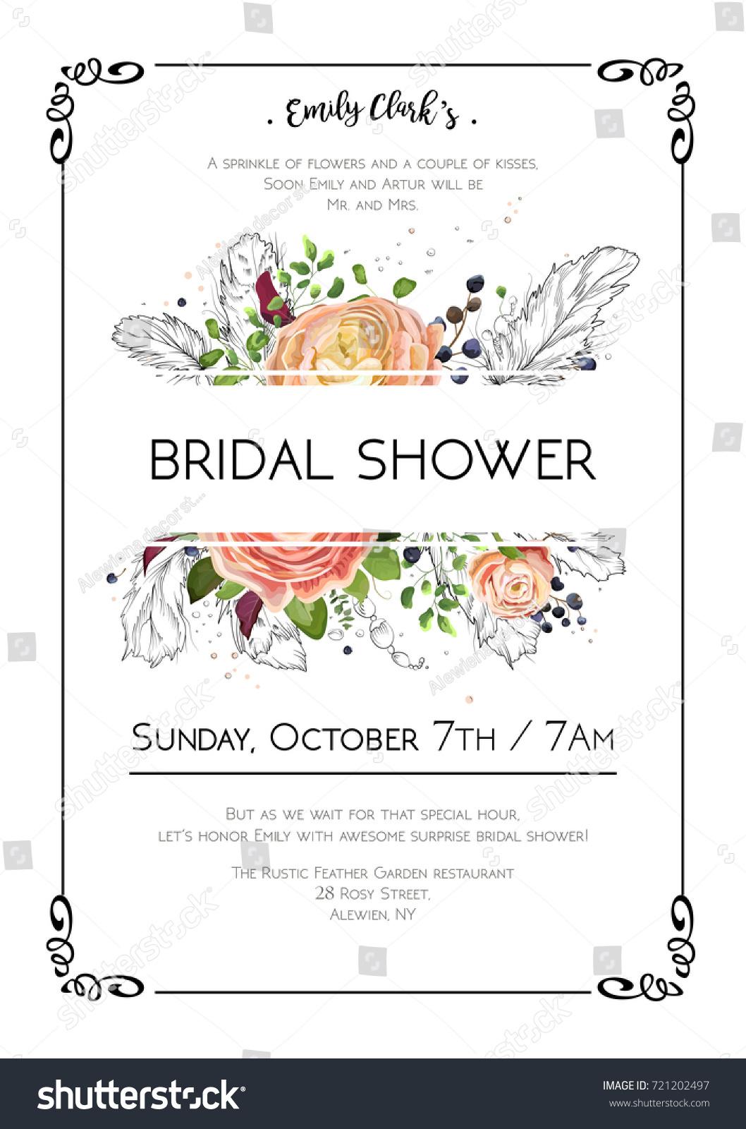 Bridal Shower Vector Boho Art Wedding Stock Vector 2018 721202497