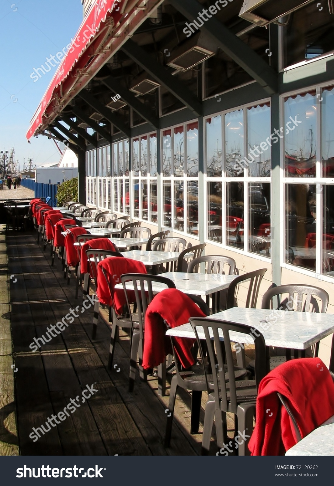 Waterfront restaurant patio richmond canada stock photo