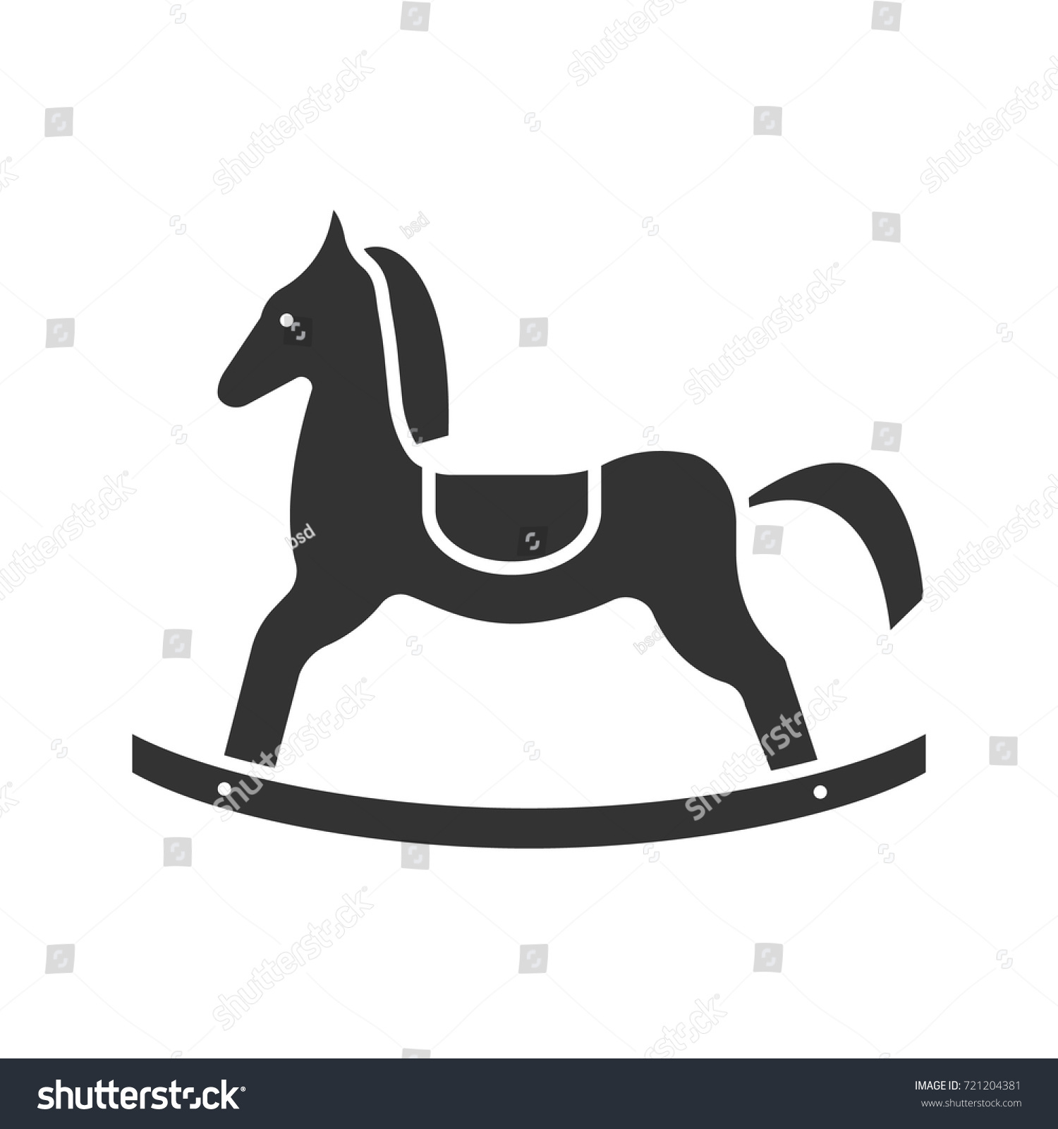 Rocking Horse Glyph Icon Silhouette Symbol Stock Vector Royalty