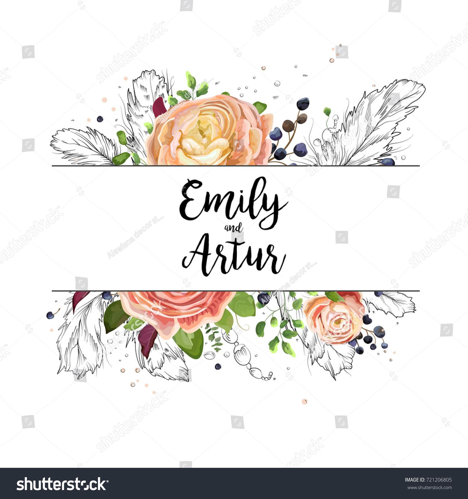 Wedding Card Design Line Art : Wedding watercolor boho invitation card design stock