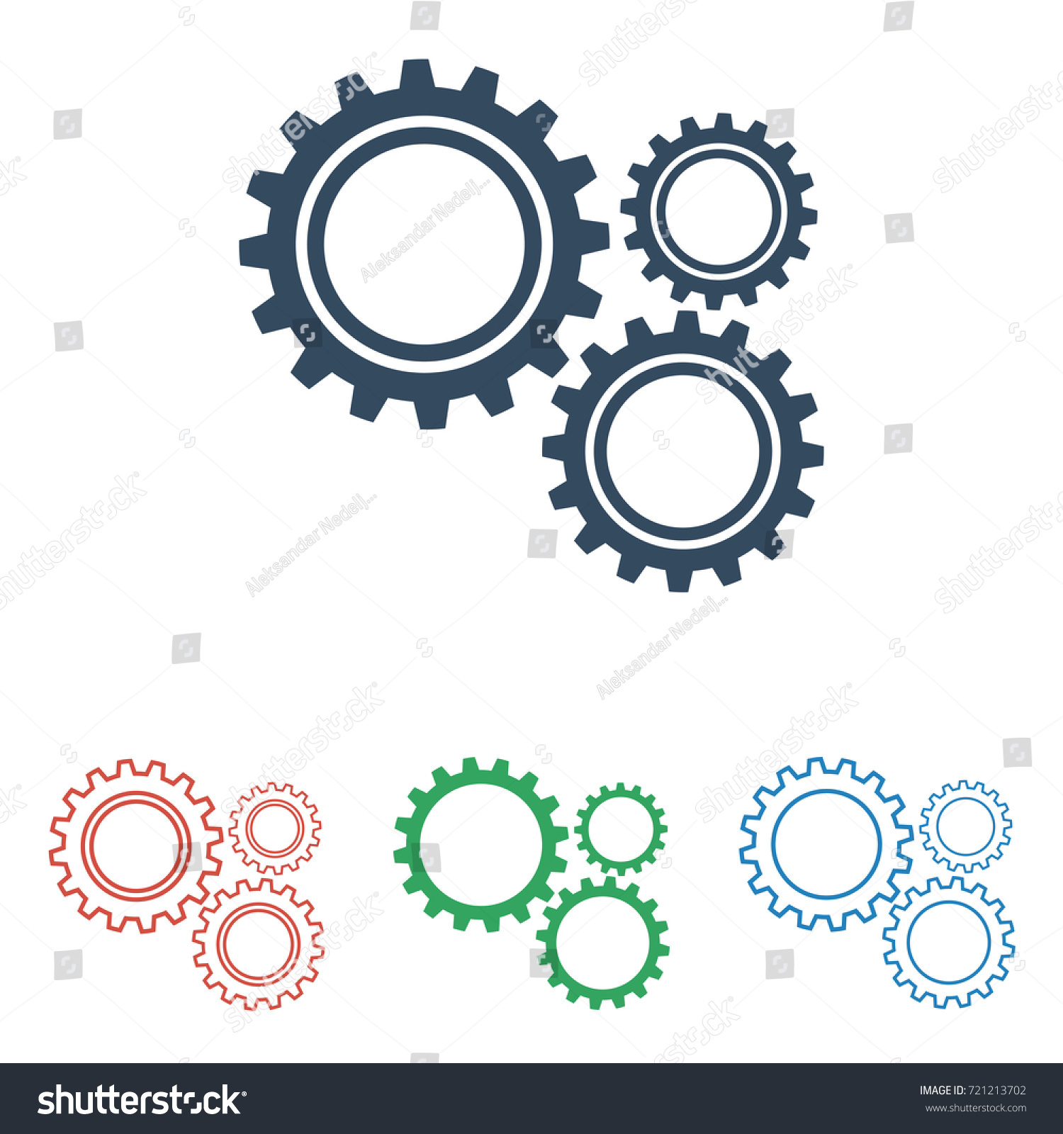 Set gear icons simple flat design stock vector 721213702 set of gear icons simple flat design isolated on white background vector sciox Image collections