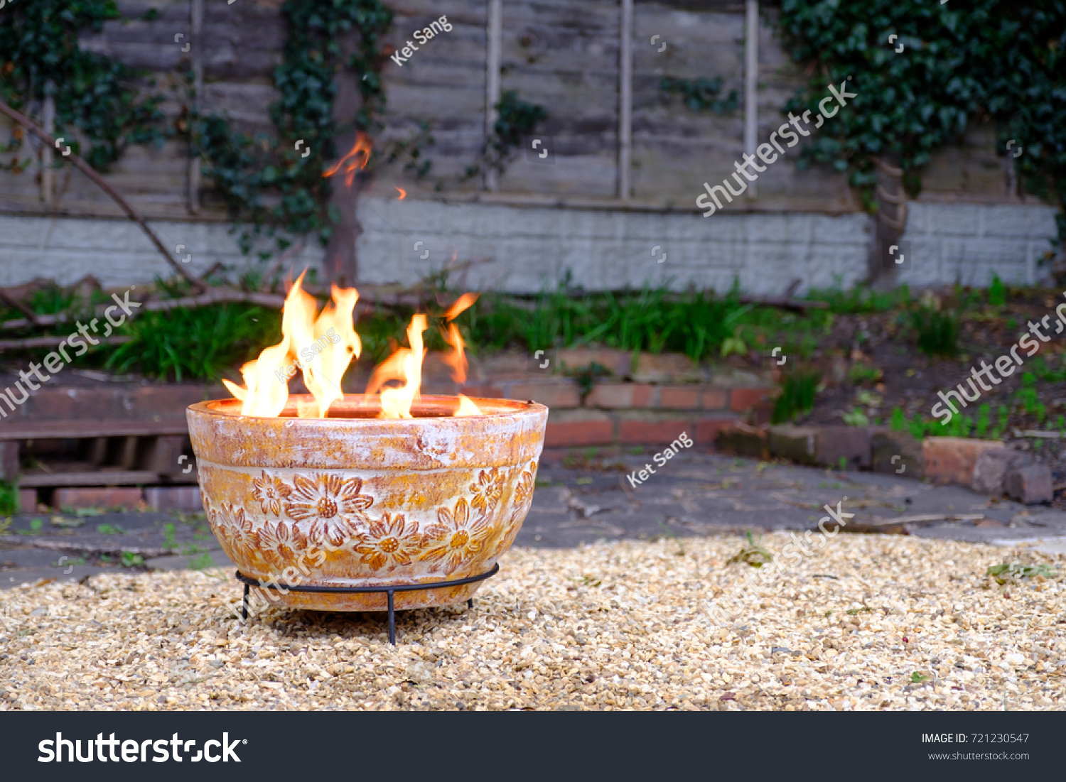 clay outdoor fire pit back garden stock photo 721230547 shutterstock