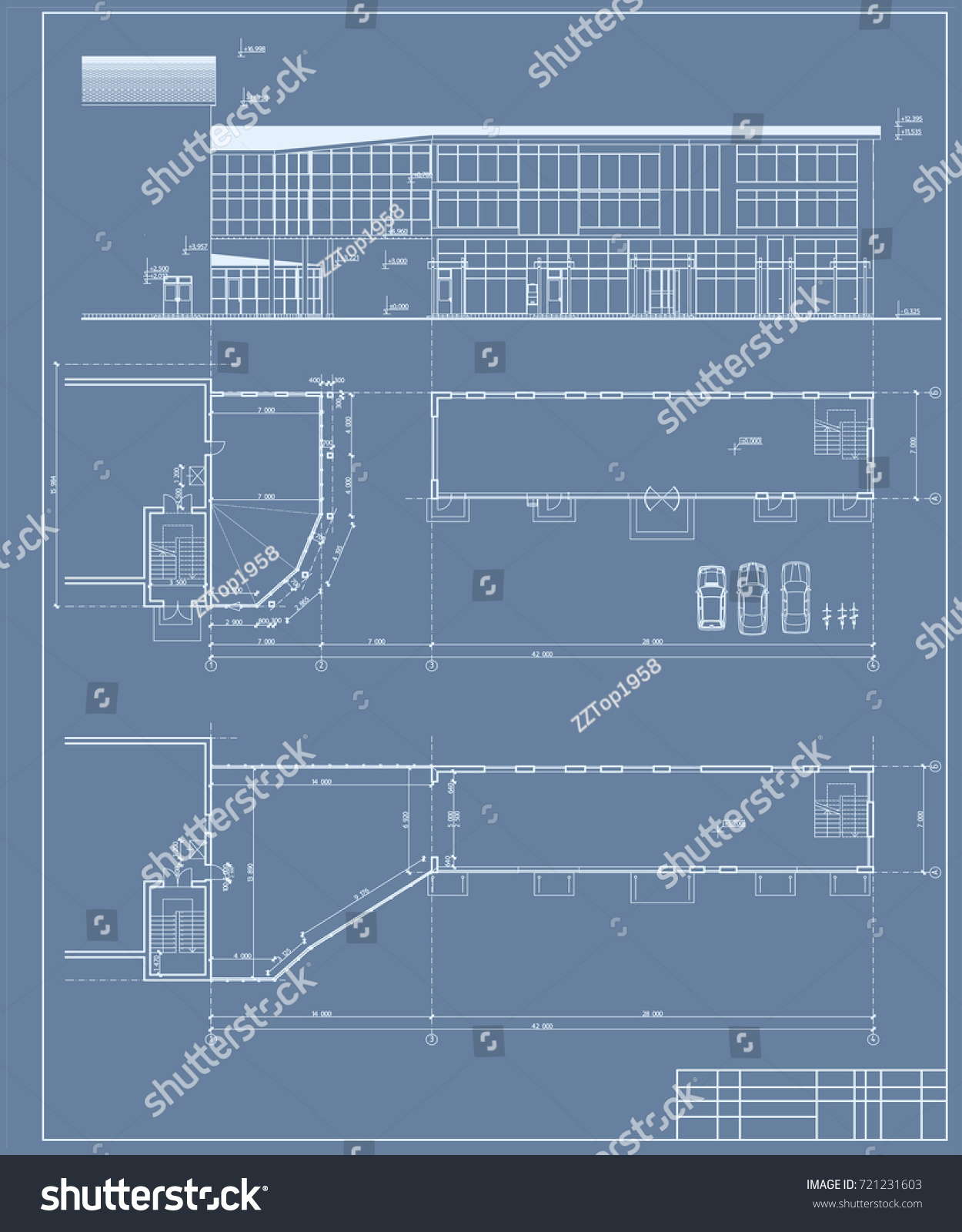 Authors project blueprint shopping center store stock vector 2018 blueprint of shopping center store 3d the plan and elevation malvernweather Images