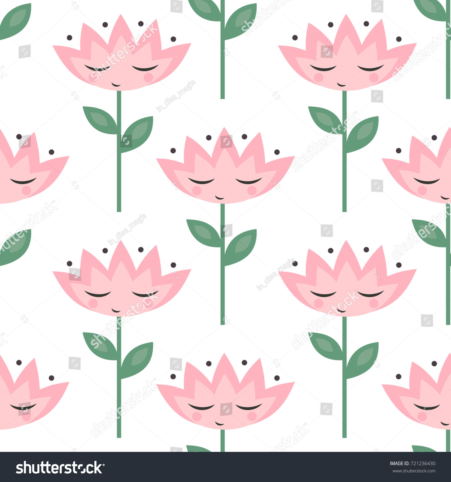 Cute Flowers Eyes Pattern On White Stock Vector Royalty Free