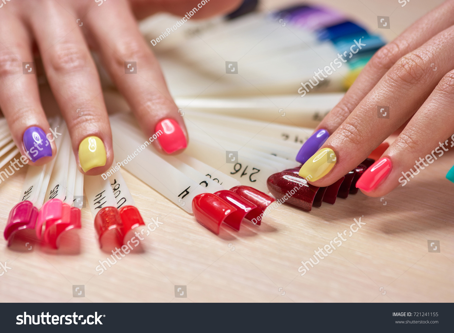 Girls Fingers Multicolored Nails Female Hands Stock Photo (Royalty ...