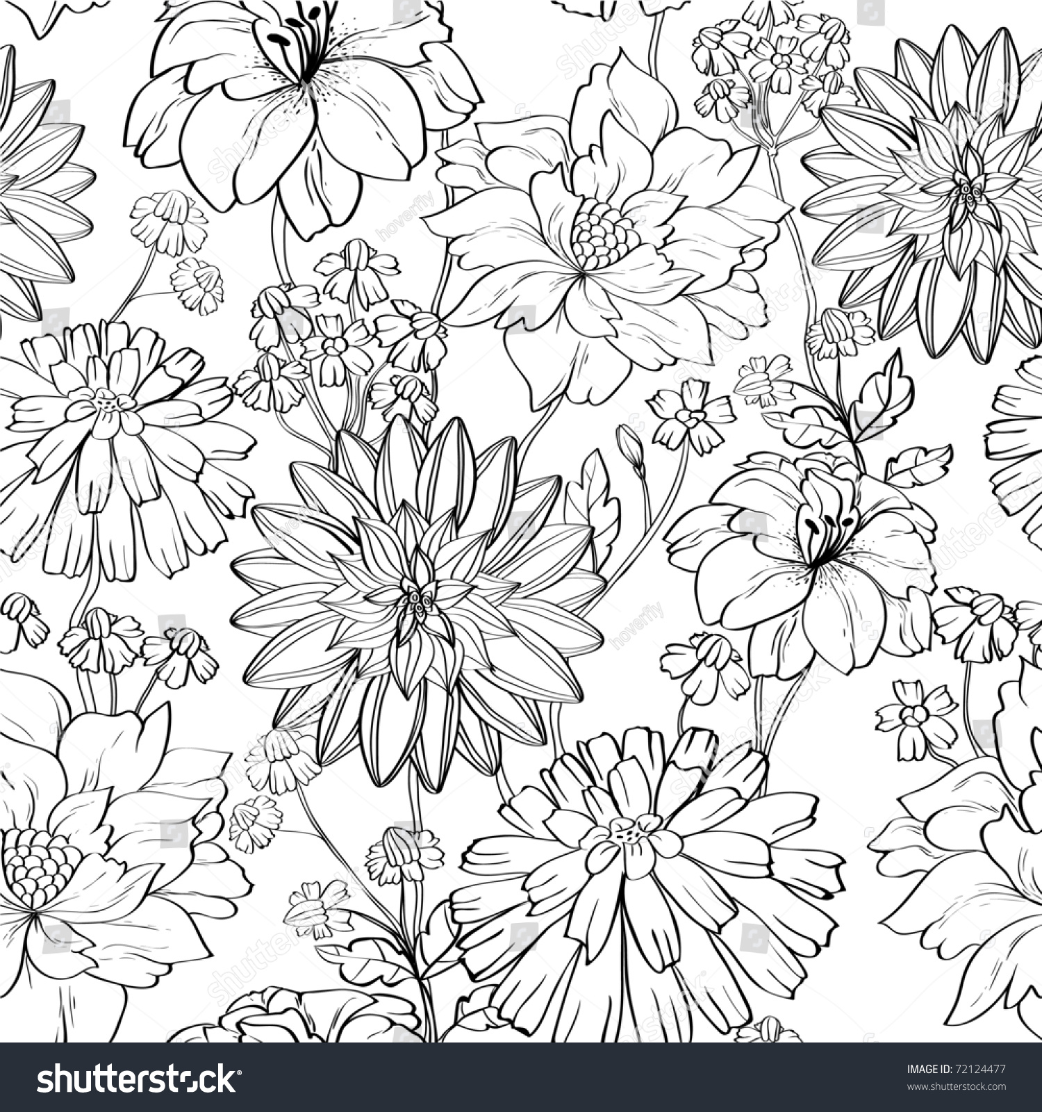 Hand Drawn Floral Wallpaper Set Different Stock Vector