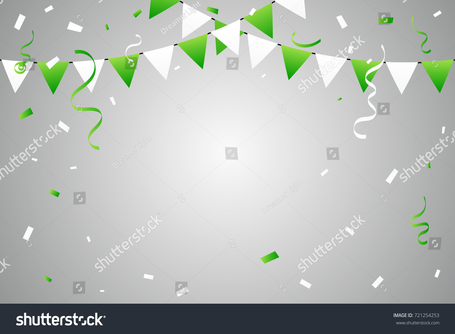 green white party flags confetti ribbons stock vector royalty free