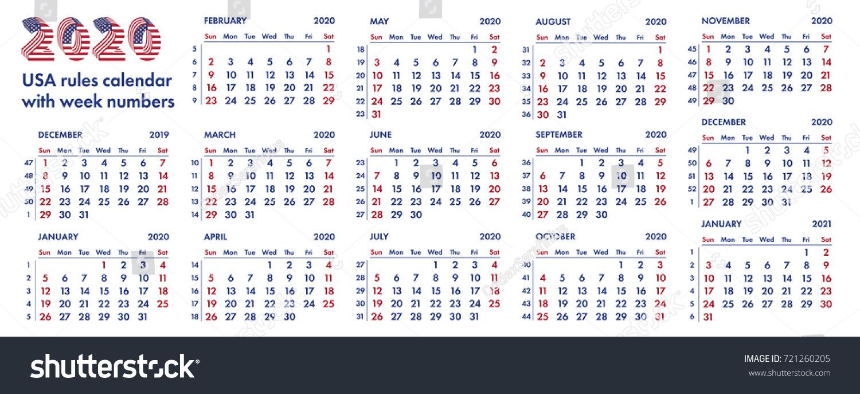 Calendar With Week Numbers 2020.2020 Calendar Grid American Rules Weeks Stock Vector Royalty Free