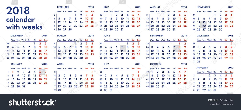 2018 calendar grid weeks numbers vector stock vector royalty free