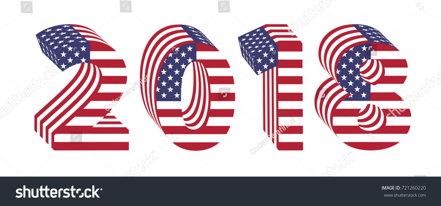 2018 numbers new year isolated on white background letters from 3d american flag textured wrapped