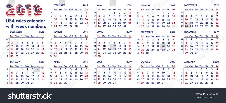 American 2019 Calendar 2019 Calendar Grid American Rules Weeks Stock Vector (Royalty Free