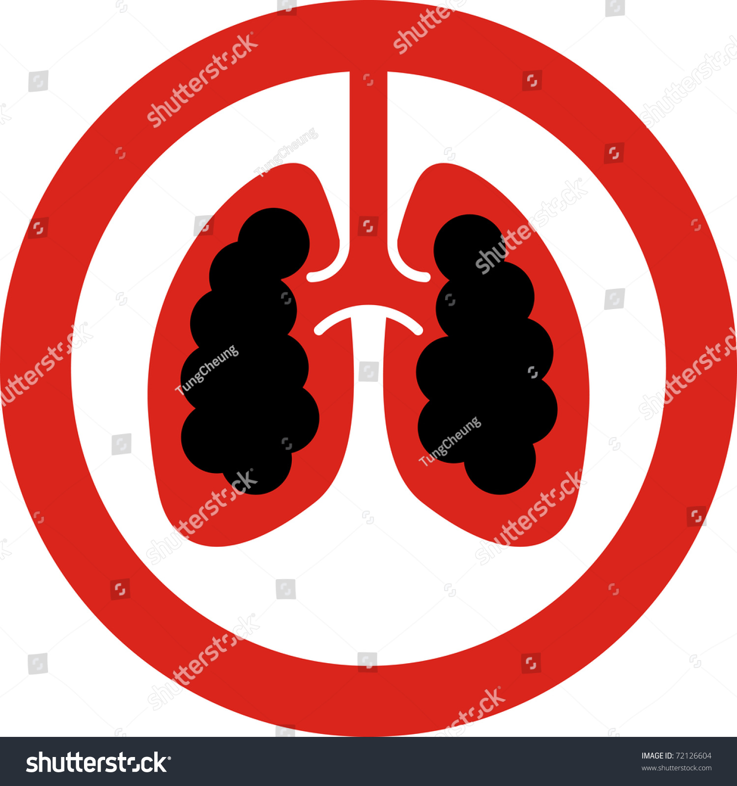 No Smoking Sign Lung Cancer Concept Stock Illustration 72126604 ...