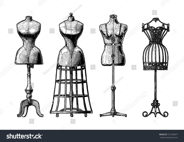 hand drawn illustration mannequins set vintage stock