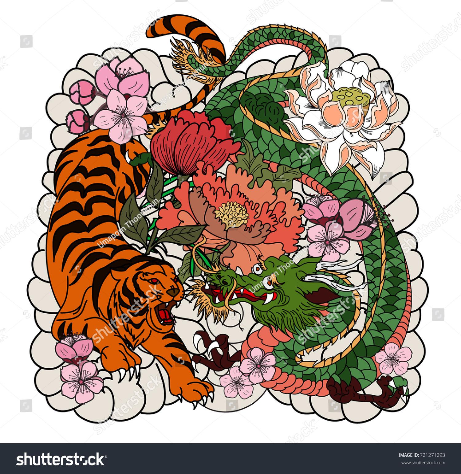 Tiger dragon fighting tattoo japanese style dragon stock vector tiger and dragon fighting tattoojapanese style dragon with tiger and peony flower on cloud izmirmasajfo