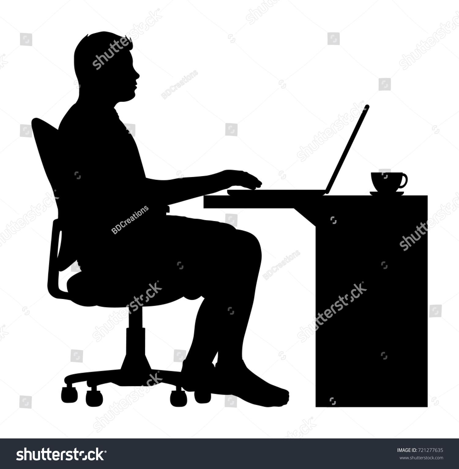 Vector Man Sitting fice Chair Desk Stock Vector