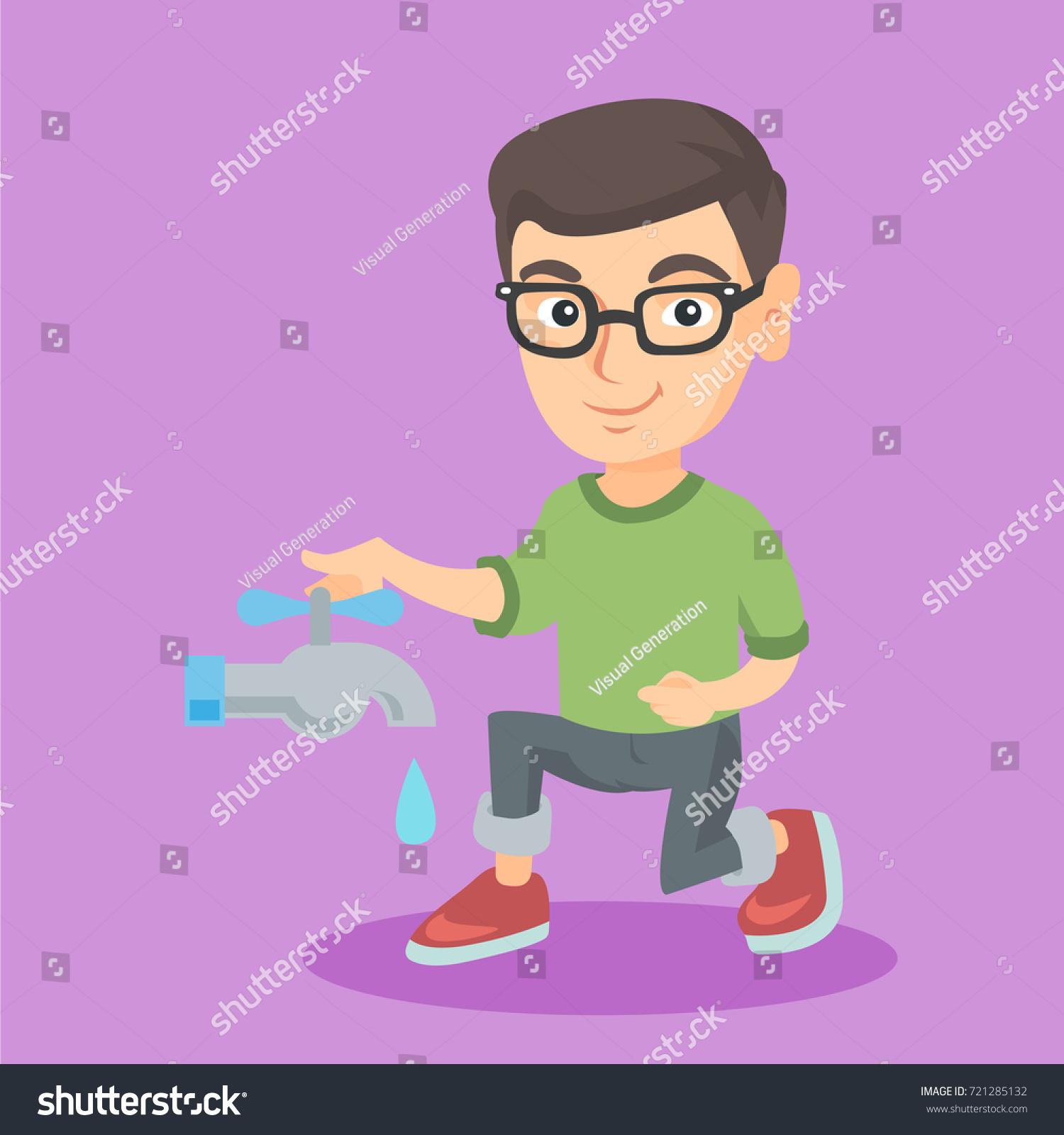 Vector de stock (libre de regalías) sobre Un niño caucásico en gafas  apagando721285132