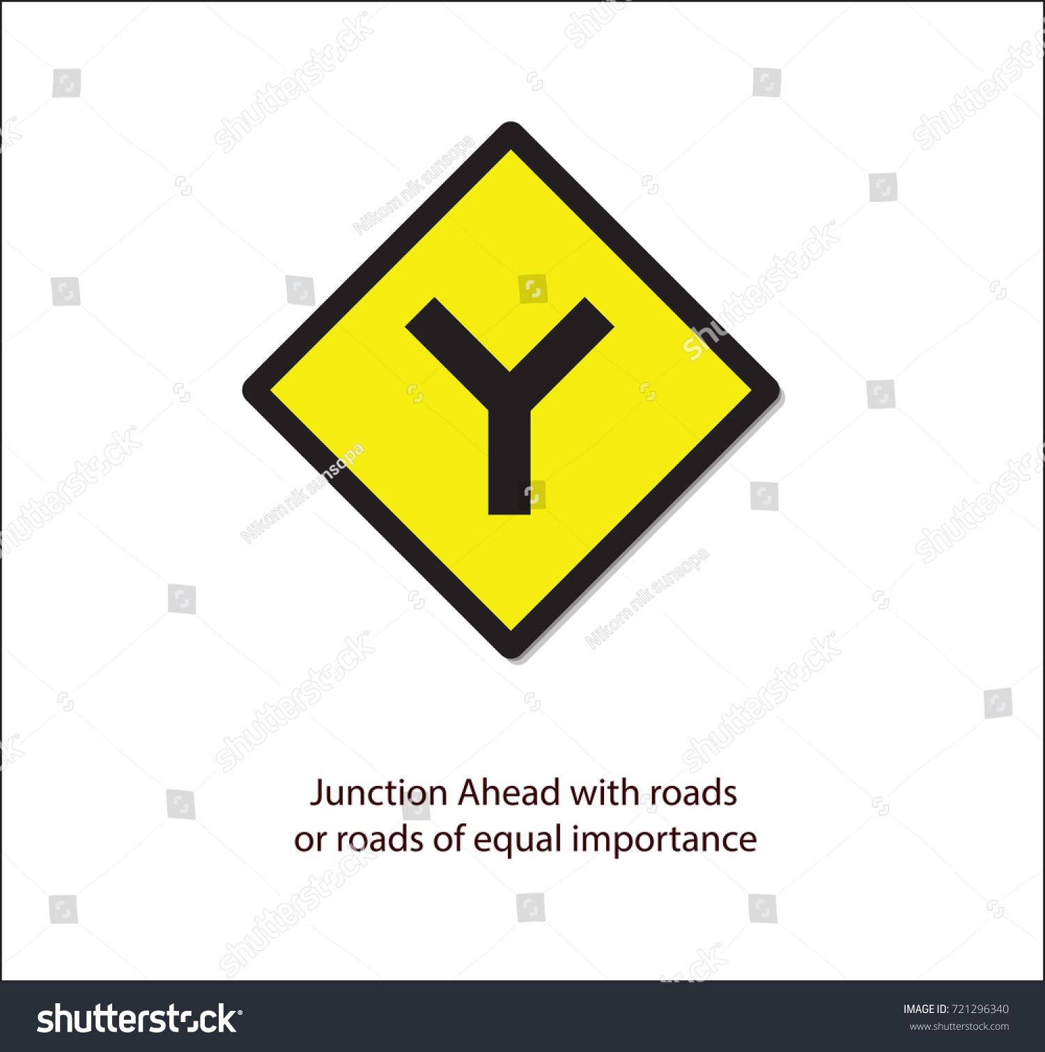 Road signjunction ahead roads road equal stock vector 721296340 road signjunction ahead with roads or road of equal importance buycottarizona Image collections