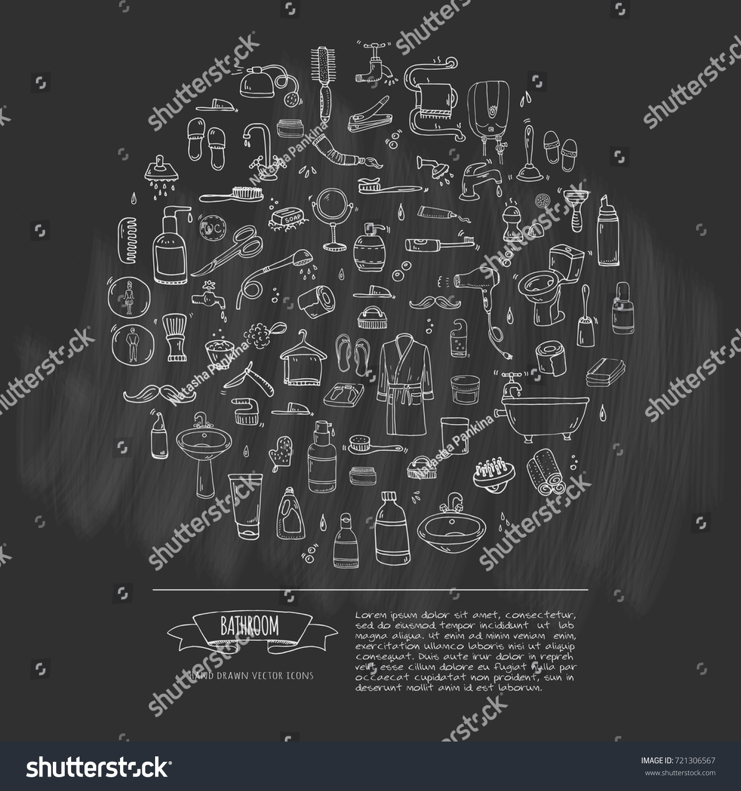 Hand Drawn Doodle Bathroom Related Icons Stock Vector