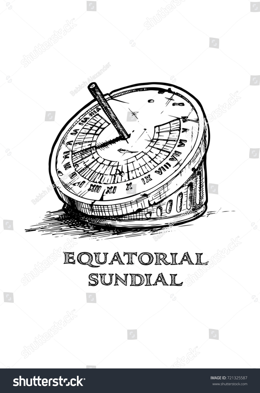 Hand Drawn Illustration Equatorial Sundial Vintage Stock ...
