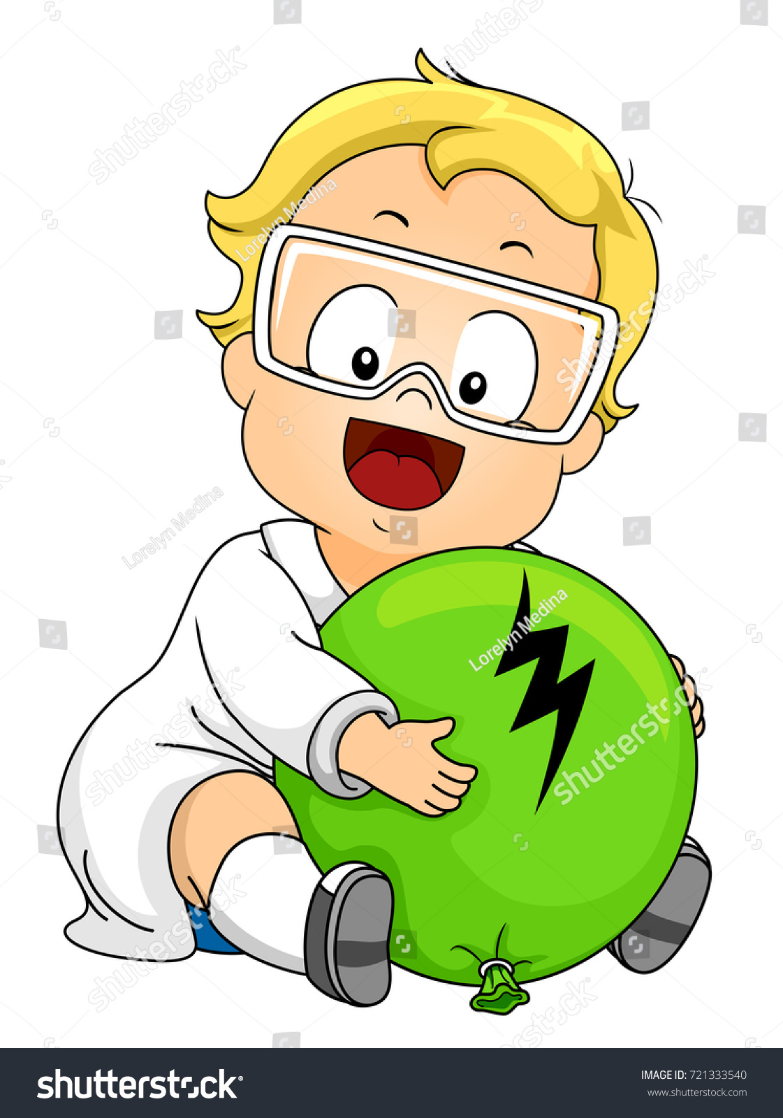 illustration kid boy wearing lab gown stock vector royalty free