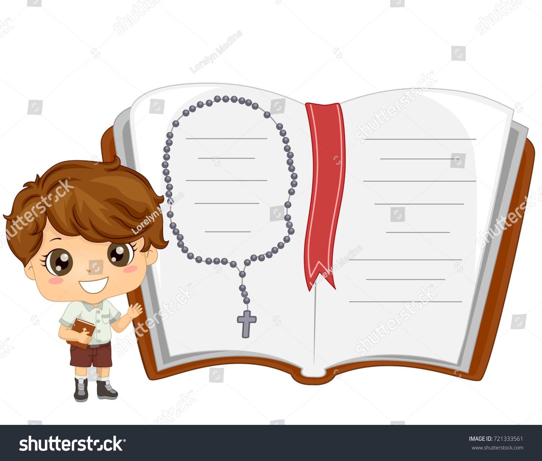 illustration kid boy holding bible open stock vector 721333561