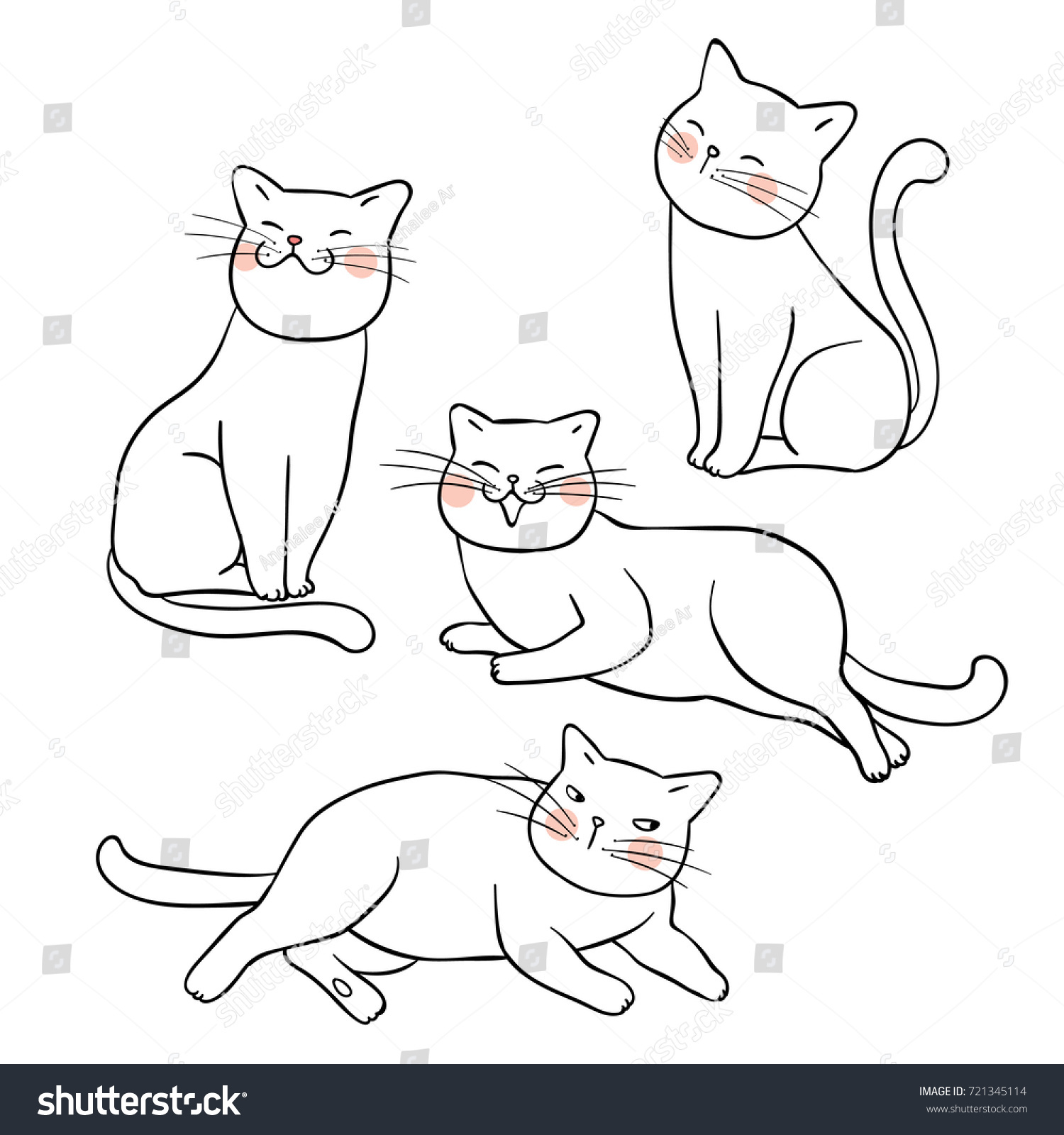 vector illustration character design outline catdraw stock vector