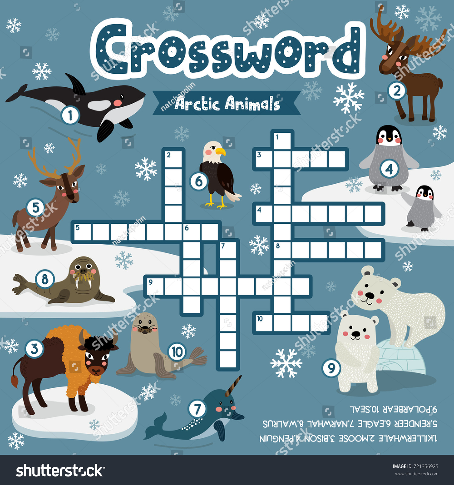 Game with shapes of different colors crossword - Crosswords Puzzle Game Of Arctic Animals For Preschool Kids Activity Worksheet Colorful Printable Version Vector