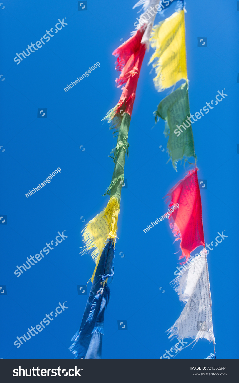 Vertical Rows Colorful Tibetan Buddhist Prayer Stock Photo (Edit Now