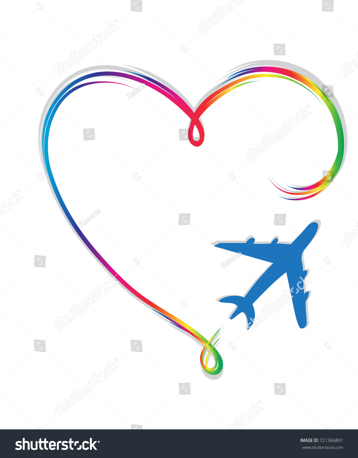 Icon Love Travel Heart Plane Symbol Stock Vector Royalty Free