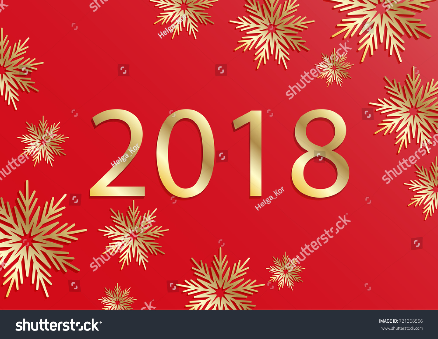 Happy New Year 2018 Card 3 D Stock Vector Royalty Free 721368556