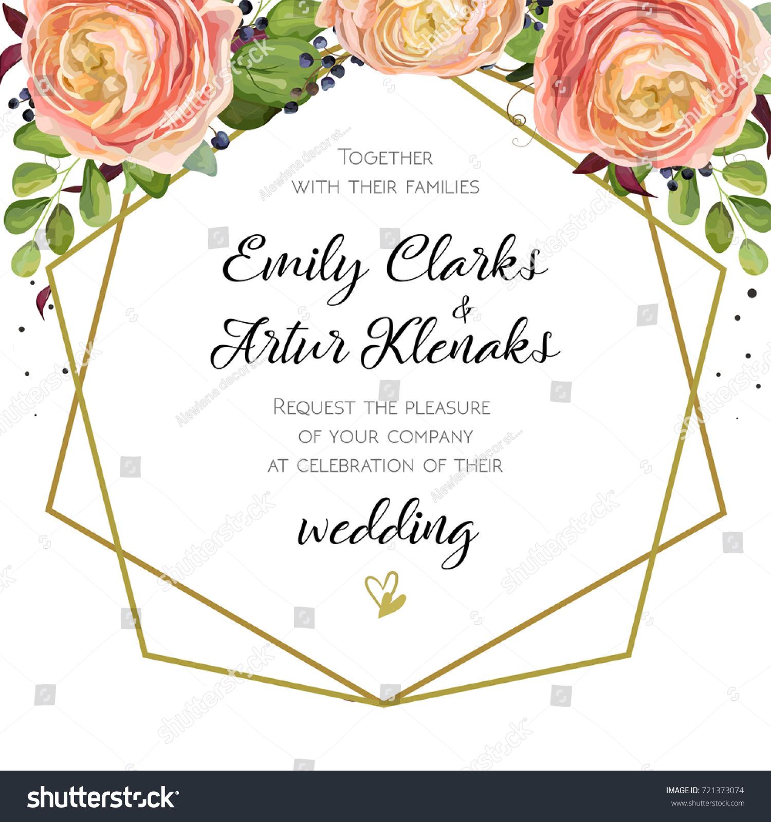 Wedding invitation floral watercolor invite card em vetor stock wedding invitation floral watercolor invite card design with pink peach ranunculus flowers blue berry stopboris Choice Image