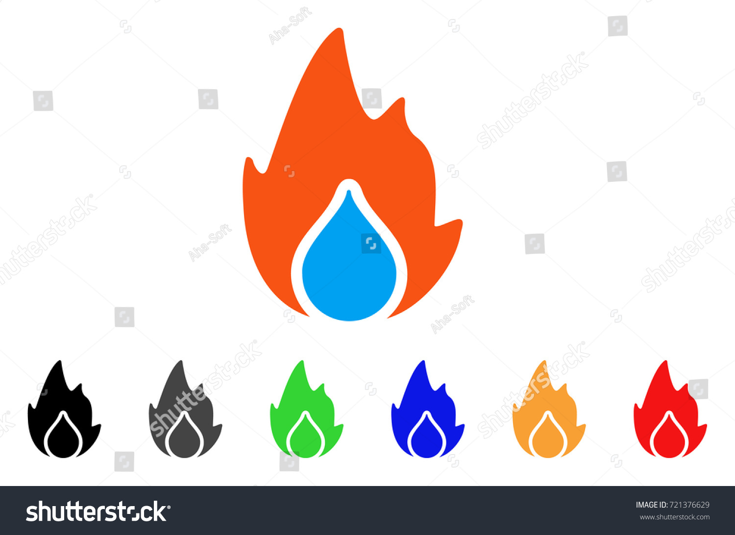 Fire water drop icon vector illustration stock vector 721376629 fire and water drop icon vector illustration style is a flat iconic fire and water biocorpaavc Choice Image