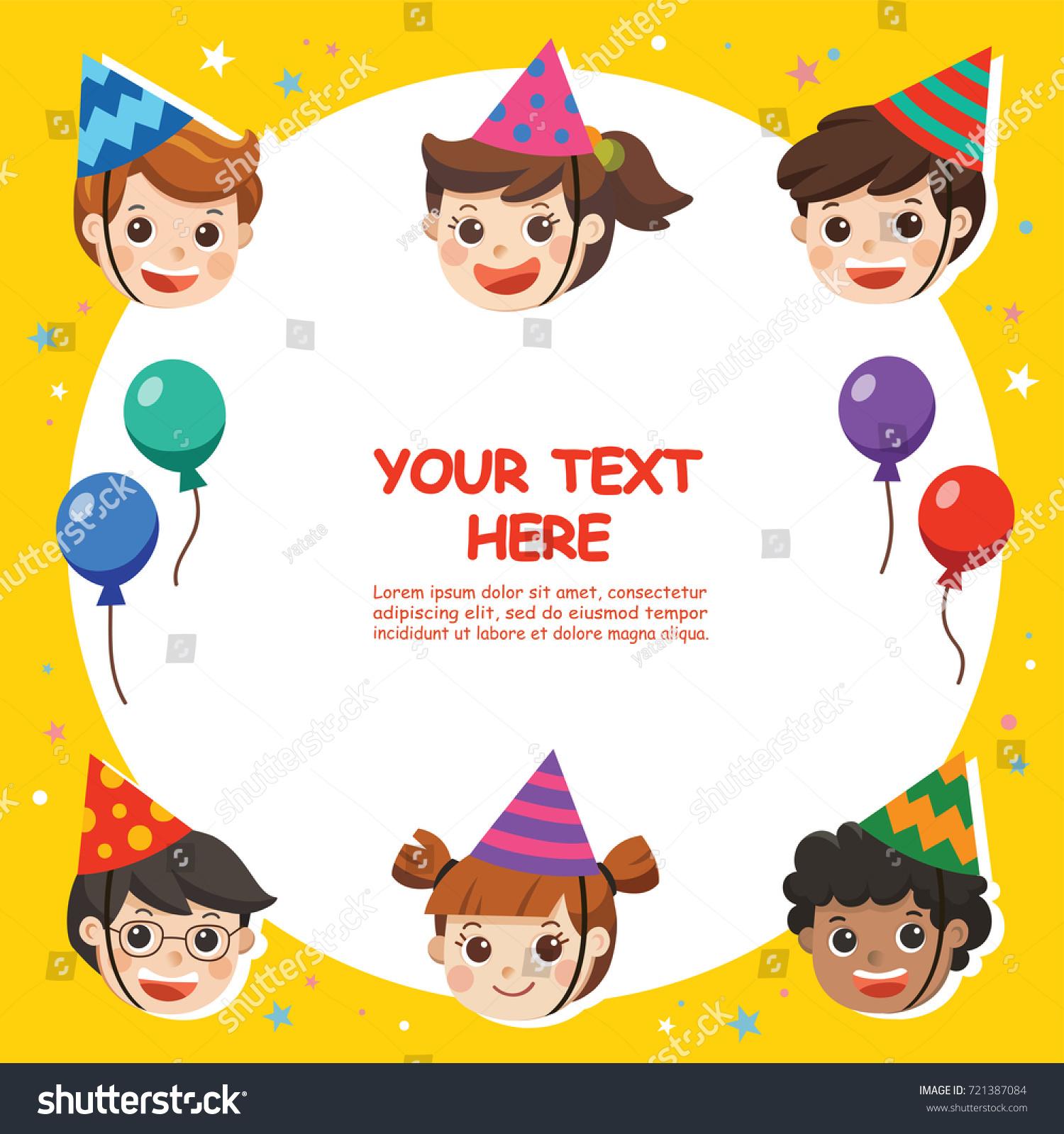 Happy Birthday Beautiful Kids Greeting Funny Stock Vector (Royalty ...