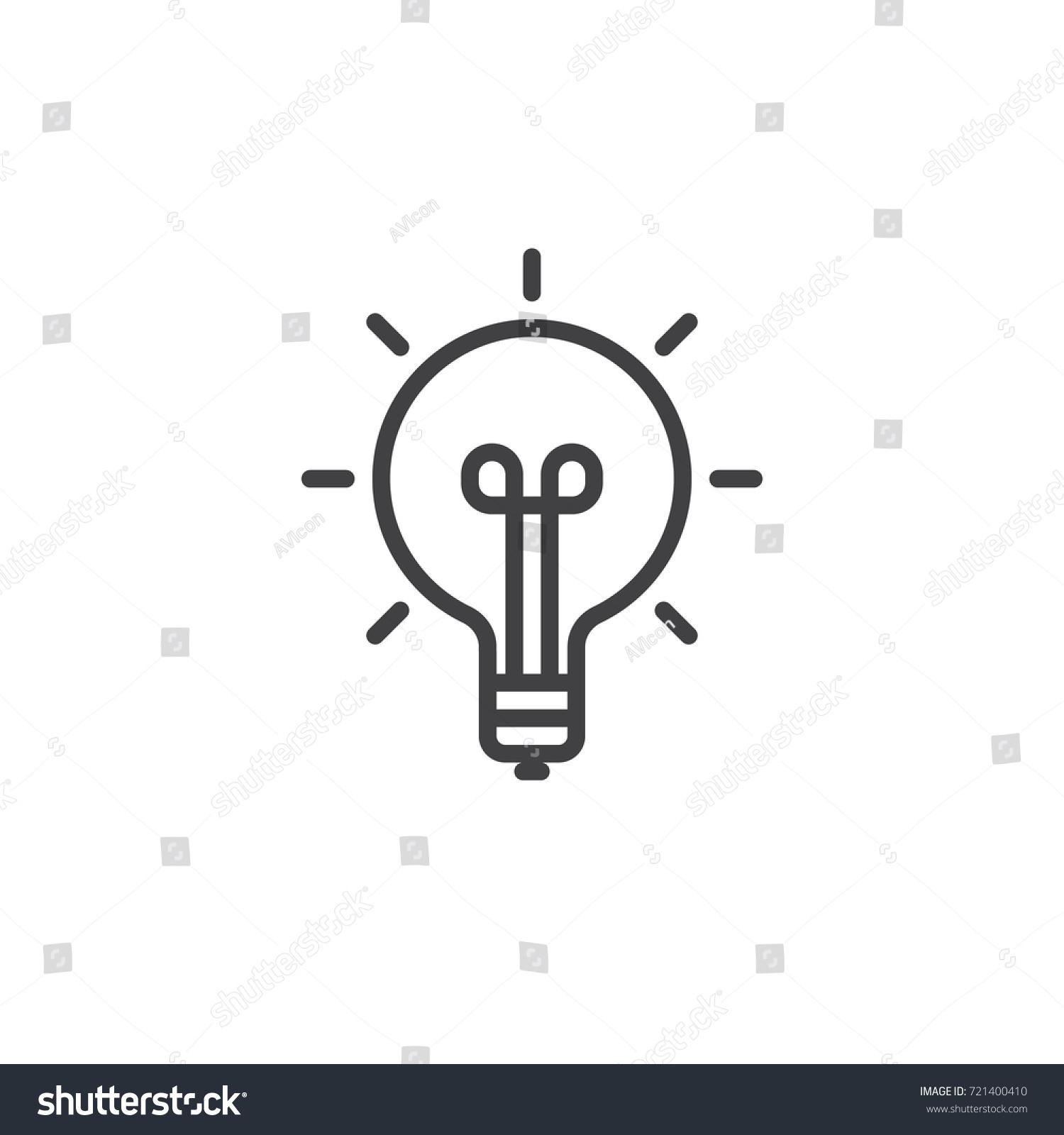 Idea Light Bulb Line Icon Outline Stock Vector 721400410 - Shutterstock