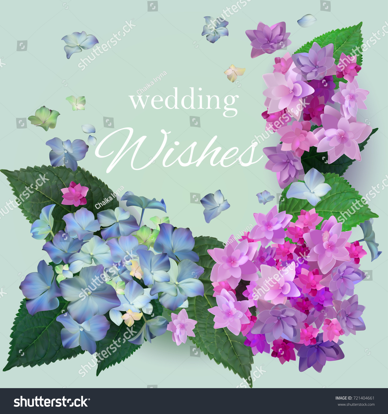 Wedding Wishesflowers Wedding Greeting Cardsblue Pink Stock Vector
